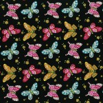 3245-002 BUTTERFLIES-BLACK